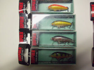 4  F3 Rapala's. fishing, tackle, lure, rod, reel.