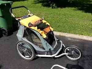 Chariot-remorque + kit jogging MEC double