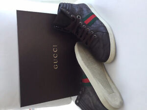 Gucci mens size 8 brown leather hi-tops