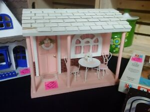 Vintage Small Wood Doll House/Porch Scene