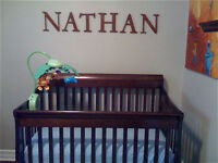 1 in 4 Convertible Crib with Sealy Mattress and Beddings