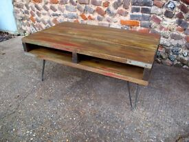 INDUSTRIAL rustic, handmade reclaimed scaffolding COFFEE TABLE
