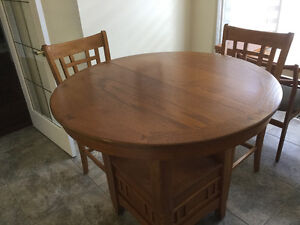 Oak Counter Height Dining Table and Four Chairs