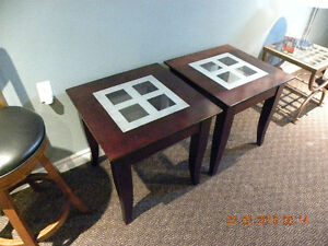 2 Wood and Glass End Tables