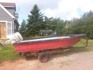 2005 30hp 14 foot fiberglass with trailer $1250