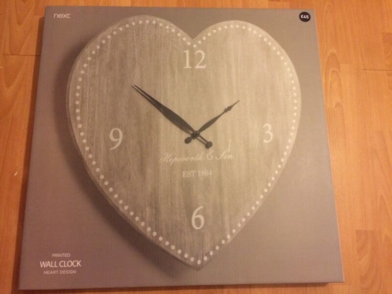 Next Grey Heart Big Wall Clock Brand New In Box H62 X W65 X D15 Cm