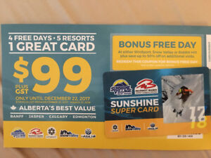 Sunshine Village Super Card - NEVER USED!