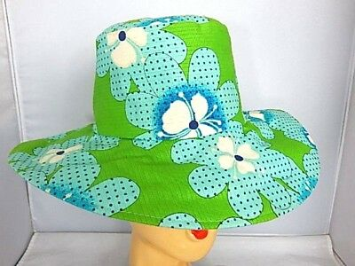 Vintage 1960 70s Fits All Flower Power Summer Hat Floppy Sun Cap Japan Made Boho