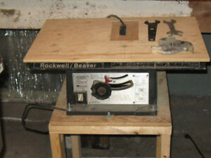 "Rockwell/ Beaver 7 1/4"" Table Saw with Cabinet Door Jig."
