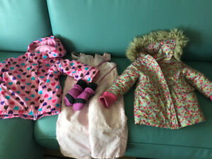 Size 2T winter coats, ski pants & mittens.