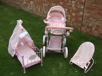Baby Annabel Pram, Cot & Bouncer