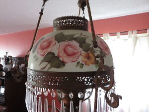 Antique Victorian Hanging English Library Light Hand Painted Kitchener / Waterloo Kitchener Area image 3
