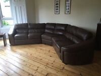 Leather curved corner sofa can deliver