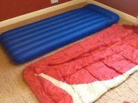 Adult sleeping bag, airbed & pump