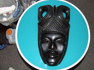 Hand Carved Tribal African Wall Mask Of A Woman - $85.00