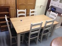 Oak top dining table with painted frame and legs