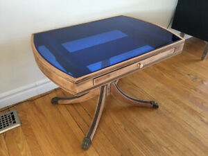 Occasional table with blue coloured glass top