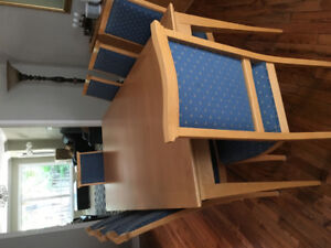 Solid beech wood 8 seater dining table, chairs, buffet,sideboard