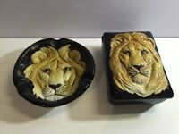 Vintage lions face ashtray and cigar box