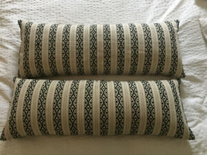 Modern Bolster Accent Pillows: White w/ Black Embroidery