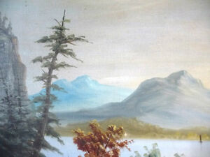 "Antique, Large Original Oil, ""Lake George"" by C. G. White Stratford Kitchener Area image 3"