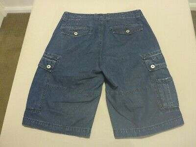 020 MENS EX-COND JAG RELAXED FIT BLUE WASH DENIM CARGO SHORTS SZE 32 $100 RRP.