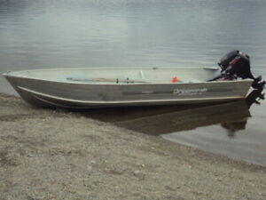 14 FT ALUMINUM BOAT MOTOR AND TRAILER FOR SALE.