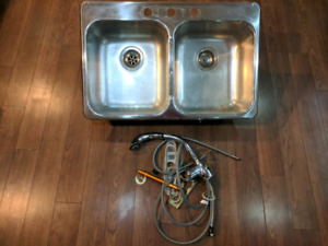 Stainless double sink and faucet