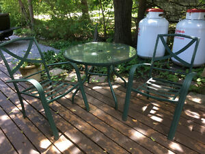 Glass Patio table and two chairs