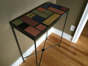 Accent/Side Table - Ceramic & Wrought Iron