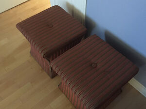 3 Upholstered Ottomans with nail heads