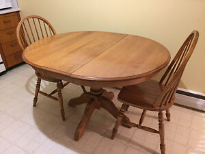 Solid hardwood table & chairs