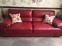 Red Leather Two Piece Sofa Set