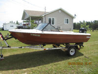 16' PRINCECRAFT BOAT,TRAILER, 80 HP MERCURY, POWER TILT
