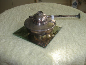OLD VINTAGE SILVER-PLATED ALCOHOL / SPIRIT CHAFING DISH BURNER