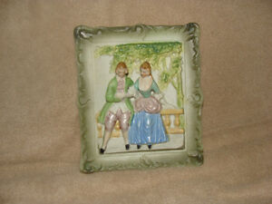 1940s 3d porcelain handpainted chase picture
