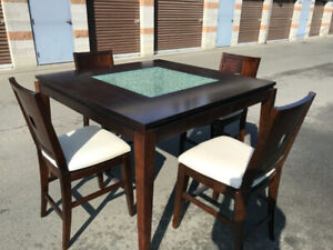 Counter Height Dining Table, Chairs, and Hutch