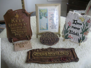 "SIX ASSORTED OLD VINTAGE WALL HANGING ""BIBLE QUOTATIONS"""