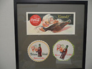 1953 SPRITE BOY COCA COLA FRAMED COLLECTABLE
