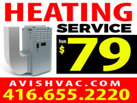 Heating Service  $79 service call, $1895 new furnace installed