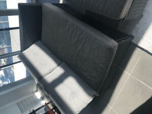 Grey patio outdoor sofa set with ottoman