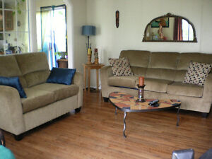 Three year old Beige Sofa Bed & love seat