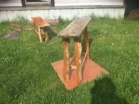 Reclaimed wood and ancient cottonwood bark tables