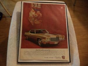 old cadillac classic car framed ads