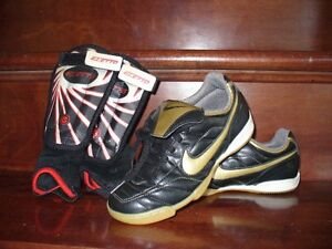 Nike indoor soccer shoes size 1.5 plus shin guards