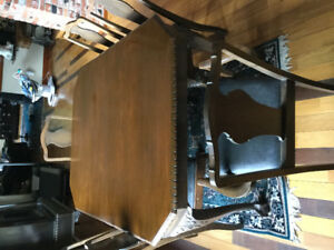 Antique table hutch buffet and 6 chairs