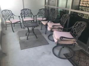 Wrought Iron Patio Set - 6 Chairs + Table + Cushions