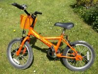 Raleigh 'Ride' Childrens Bike, 16in, Two Brakes, Bell & Basket