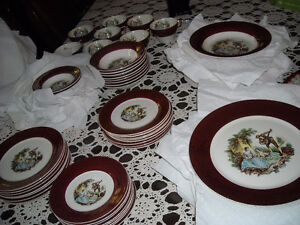 set de vaisselle dish set sebring burgundy 22 kt antique rare