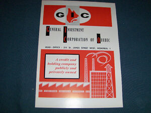 GENERAL INVESTMENT CORP. OF QUEBEC-1964 ADVERTISEMENT-VINTAGE!